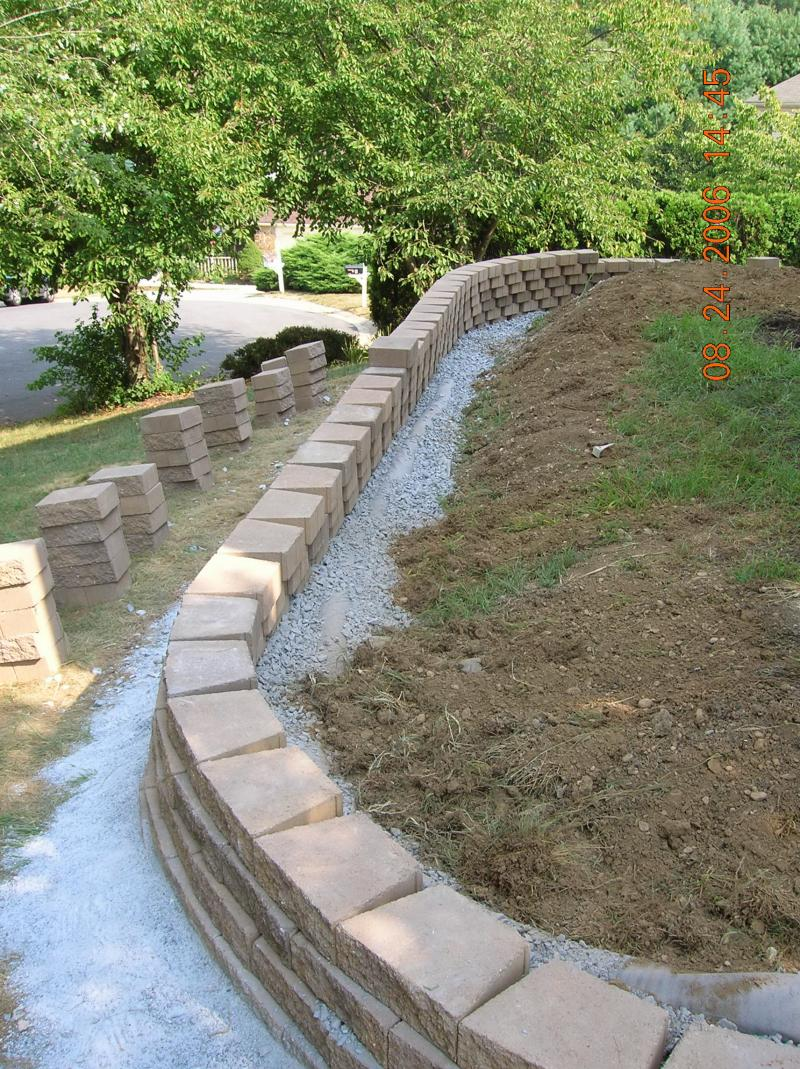 Retaining Wall Drainage Mat : Andrew vilcheck large retaining walls driveways with